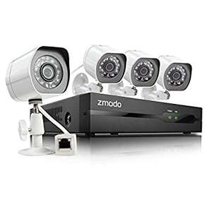 Zmodo 4CH 720P PoE NVR HD Security Camera System with 4 Indoor/ Outdoor Night Vision 720P Security Cameras 1TB HDD Smartphone Scan QR Code Quick Remote Access at Amazon for £120