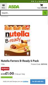 New Nutella B-ready bars pack of 6 £1 in Asda