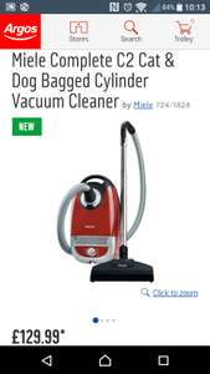 Miele c2 cat and dog vacuum less than half price £129.99 at argos