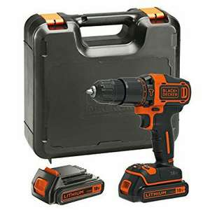 BLACK+DECKER 18 V Lithium Ion Hammer Drill w/ Kit Box 2 Batteries £64.99 @ Amazon