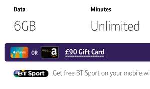 6GB, Ultd min/txt BT Sim Only - £12pm (£144 term costs) + £90 Amazon/iTunes Gift Card [existing BB customers] (poss £0.75pm with GC & cashback) @ BT