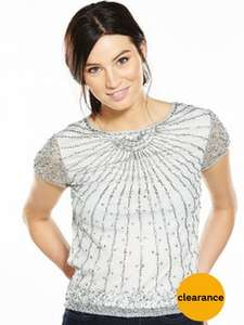 V by Very Embellished Short Sleeve Top - Ivory (Sizes 8 to 18) was £40.00 now £13.00 @ Very.com