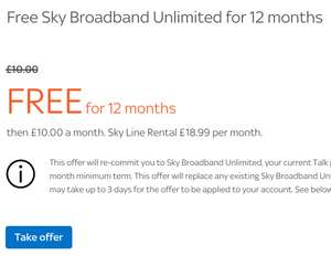 Save £120 with FREE Unlimited Broadband from Sky for a year - existing customers [Line rental payable at £18.99pm]