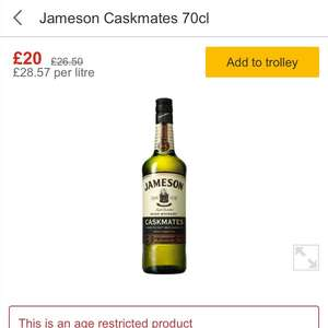 Jameson's Caskmates 70cl £20 at Morrisons