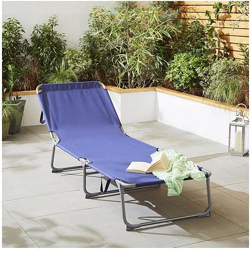 Tesco Direct Navy Folding Sun Lounger - £12
