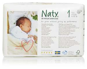 Naty by Nature Babycare Newborn ECO Nappies - Size 1  (2 to 5kg, 4 to 11lbs), 4 x Packs of 26 (104 Nappies) £10.64 Exclusively For Prime Members @ Amazon