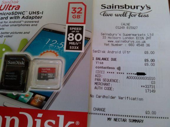 SanDisk 32Gb Ultra micro SDHC UHS-I - £6 instore @ Sainsbury's - Calne