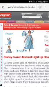 Disney Frozen Elsa light up dress 5.99 Home Bargains