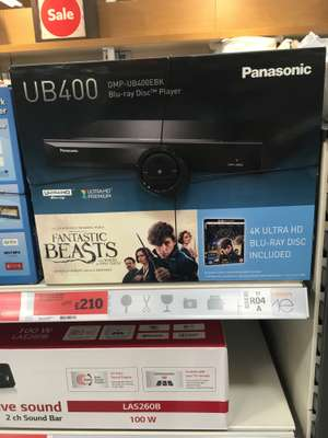Panasonic DMP-UB400 4K Ultra HD Blu Ray Player £210 now £200. Sainsburys Leicester North (?national)