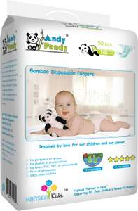 Andy Pandy Bamboo Disposable Baby Eco Nappies, Newborn (2-4kg), 50 ct £8.99 Prime, £12.94 Non-Prime (With Code) @ Amazon