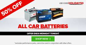 50% off car and motorcycle batteries expires midnight tonight.