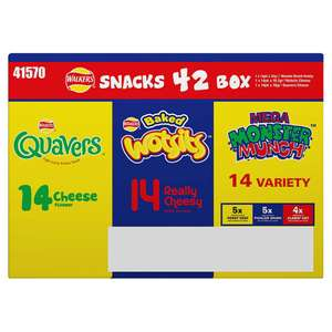 Walkers Snacks Mixed 42 Box Quavers 14 x 16.5g / Wotsits14 x 16g / Monster Munch Variety 14 x 22g (ONLY £5.00) @ Iceland