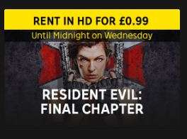 Resident Evil: Final Chapter Digital HD Rental at Rakuten TV - £0.99