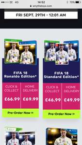 FIFA 18 in store price - £46.99 @ Smyths