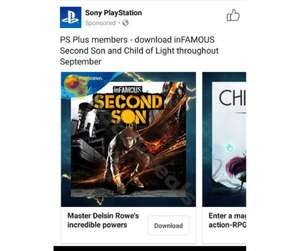 inFAMOUS Second Son and Child of Light. Free with PlayStation Plus September 2017