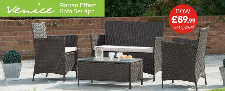 Venice rattan effect 4 piece - garden set - £89.99 @ B&M