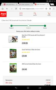 Xbox One S 1TB forza Horizon 3 bundle + Ark: Survival Evolved + GTA V (Vouchers?) @ Argos for £249.99