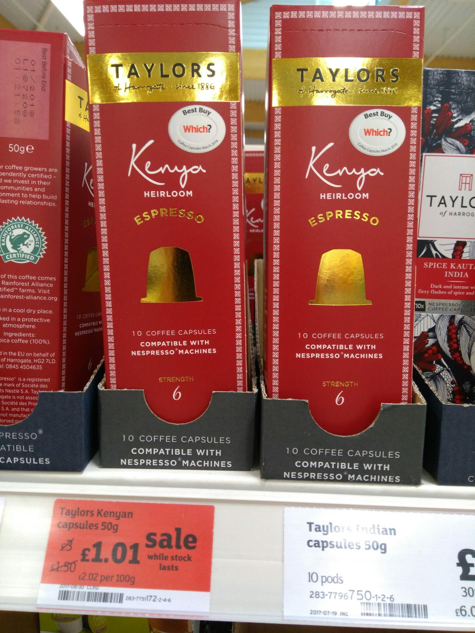 Taylors of Harrogate Nespresso capsules - 10 for £1.01 at Sainsbury's Wadsley Bridge Sheffield
