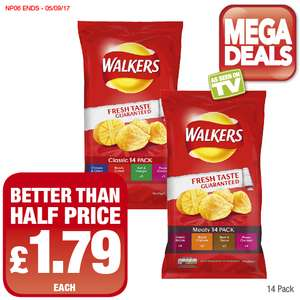 Walkers Crisps Classic or Meaty (14 Pack) Better Than Half Price £1.79 Each @ Premier Food Stores