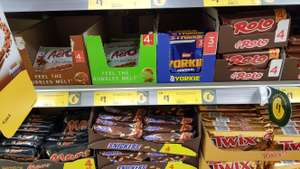 Kit Kat 4 finger 4 pack, Nestle Rolo 4 Pack, Nestle Yorkue Original 3 Pack, Aero Mint Buble Bar 4 Pack, Aero Milk Chocolate 4 Pack, Daim 3 Pack, Grey's Turkish Delight 3 Pack, Cadbury Picnic Bars 4 Pack, Cadbury Boost 4 Pack, Cadbury Dairy Milk Oreo