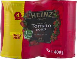 Heinz Classic Cream of Tomato Soup (4 x 400g) was £3.29 now £2.00 (50p a can) @ Sainsbury's