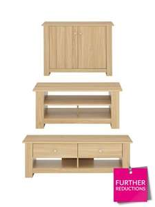 Milano 3-Piece Package - TV Unit, Coffee Table and Compact Sideboard (was £189) Now £97.99 delivered at Very