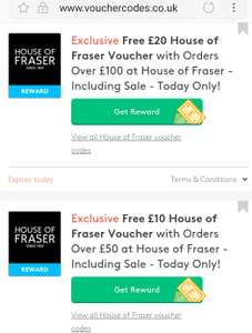 Free £20 House of Fraser Voucherwith Orders Over £100 (or £10 with orders over £50) at House of Fraser - Including Sale - Today Only!