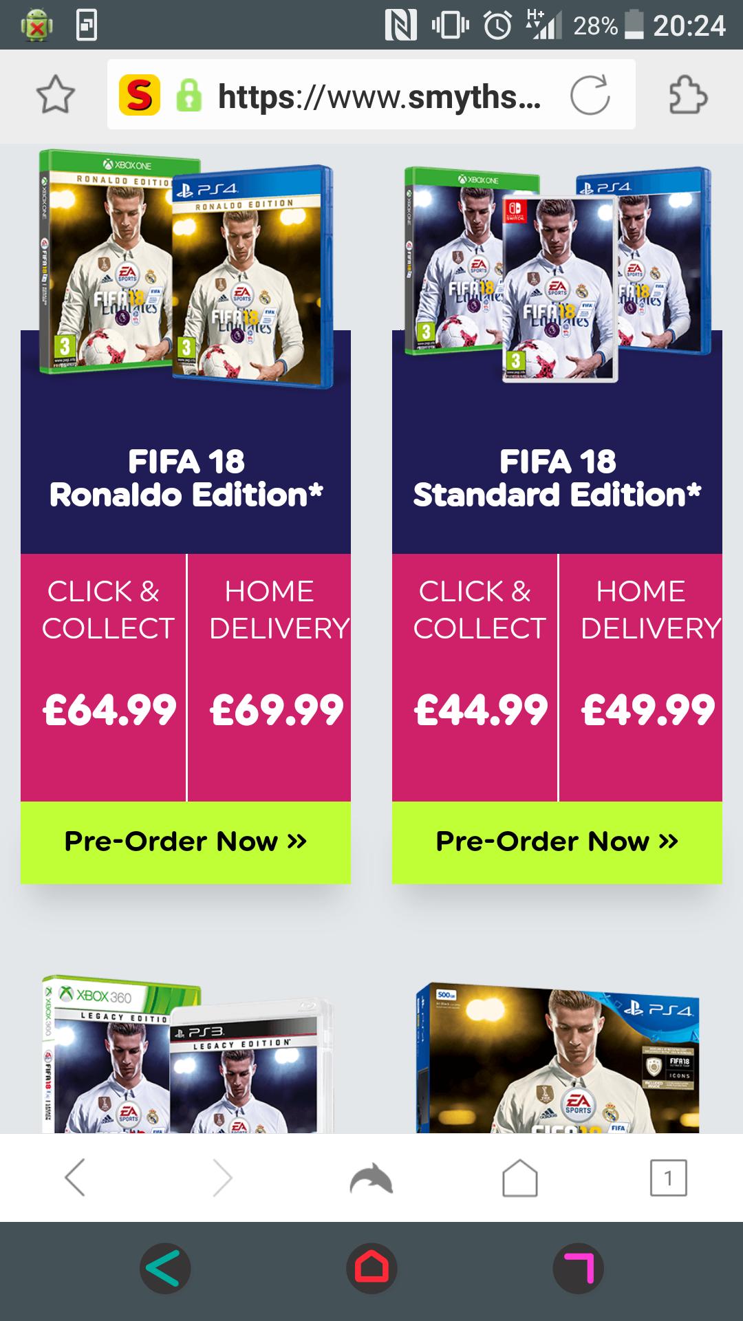 Fifa 18 pre-order - £44.99 instore @ Smyths