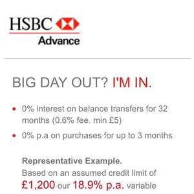 32 month 0% balance transfer, 0.6% fee, £25 cashback @ HSBC