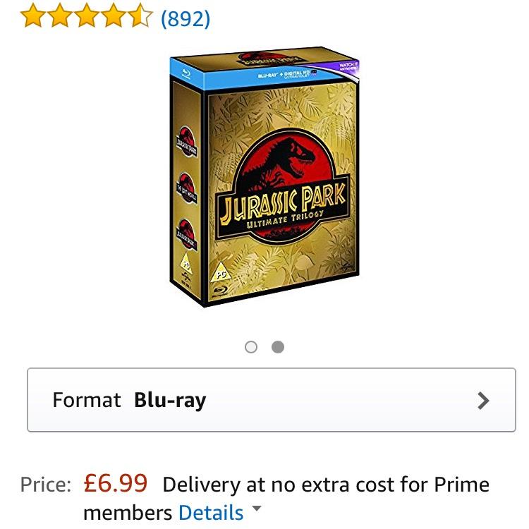 Jurassic Park trilogy - bluray & UVs - £6.99 (Prime) £8.98 (Non Prime) @ Amazon