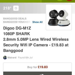 Digoo DG-M1Z 1080P SHARK 2.8mm 5.0MP Lens Super Ultra Clear Wired Wireless Security Wifi IP Camera Night Vision Two Way Audio Smart Home Video System Onvif Baby Pet Home Office DigooEye Monitor £15.94 - Banggood