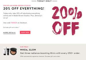 Take 20% off orders at Bobbi Brown + Free samples