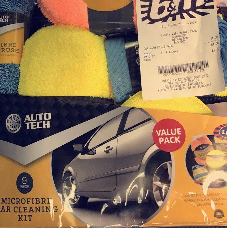 Auto tech Car microfibre cleaning kit 9 piece £1 @ B&M