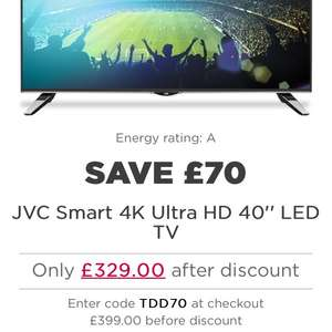 "Jvc  LT-40C860 4K 40"" TV £329 with code from currys"
