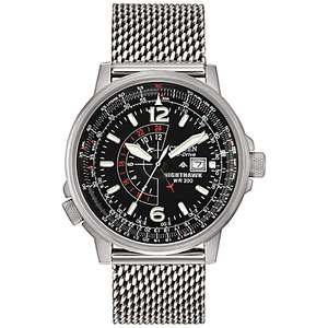 Citizen Eco-Drive Nighthawk Men's Steel Bracelet Watch, £135 from H.Samuel