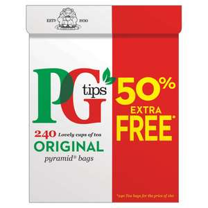 PG Tips Pyramid 240 Tea Bags ( 180 + 50% Extra) 696 gms for £3.50 from Iceland
