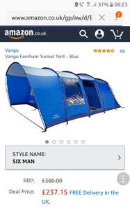 Vango 6 man tent £237.15 - Amazon