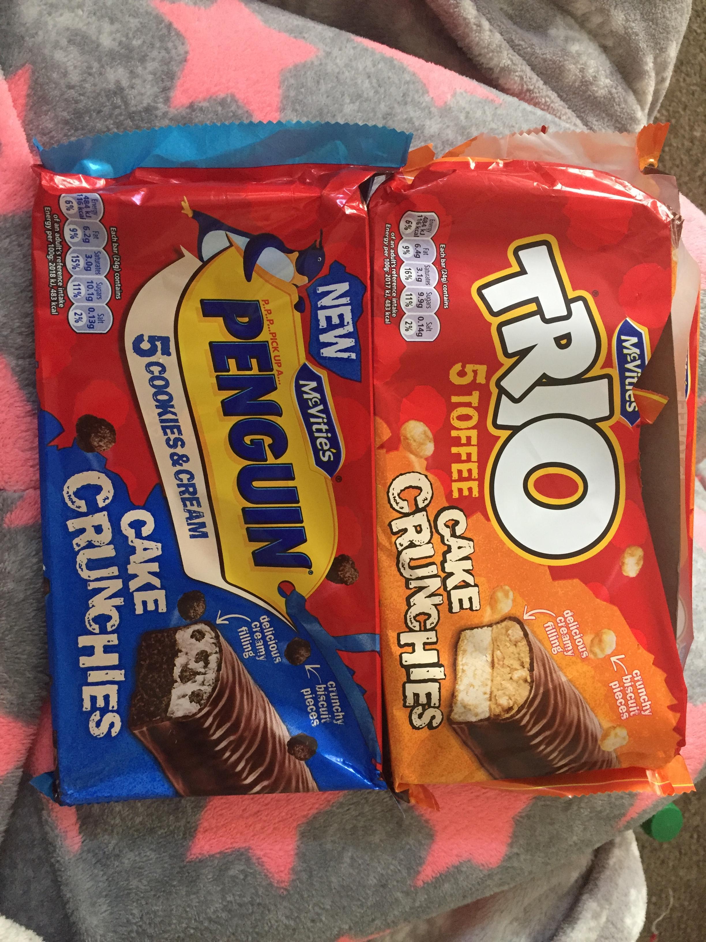 New mcvities cake crunch bars 5pack 59p or 2 pack for £1 Penguin & Trio @ Heron (10pks also 99p)