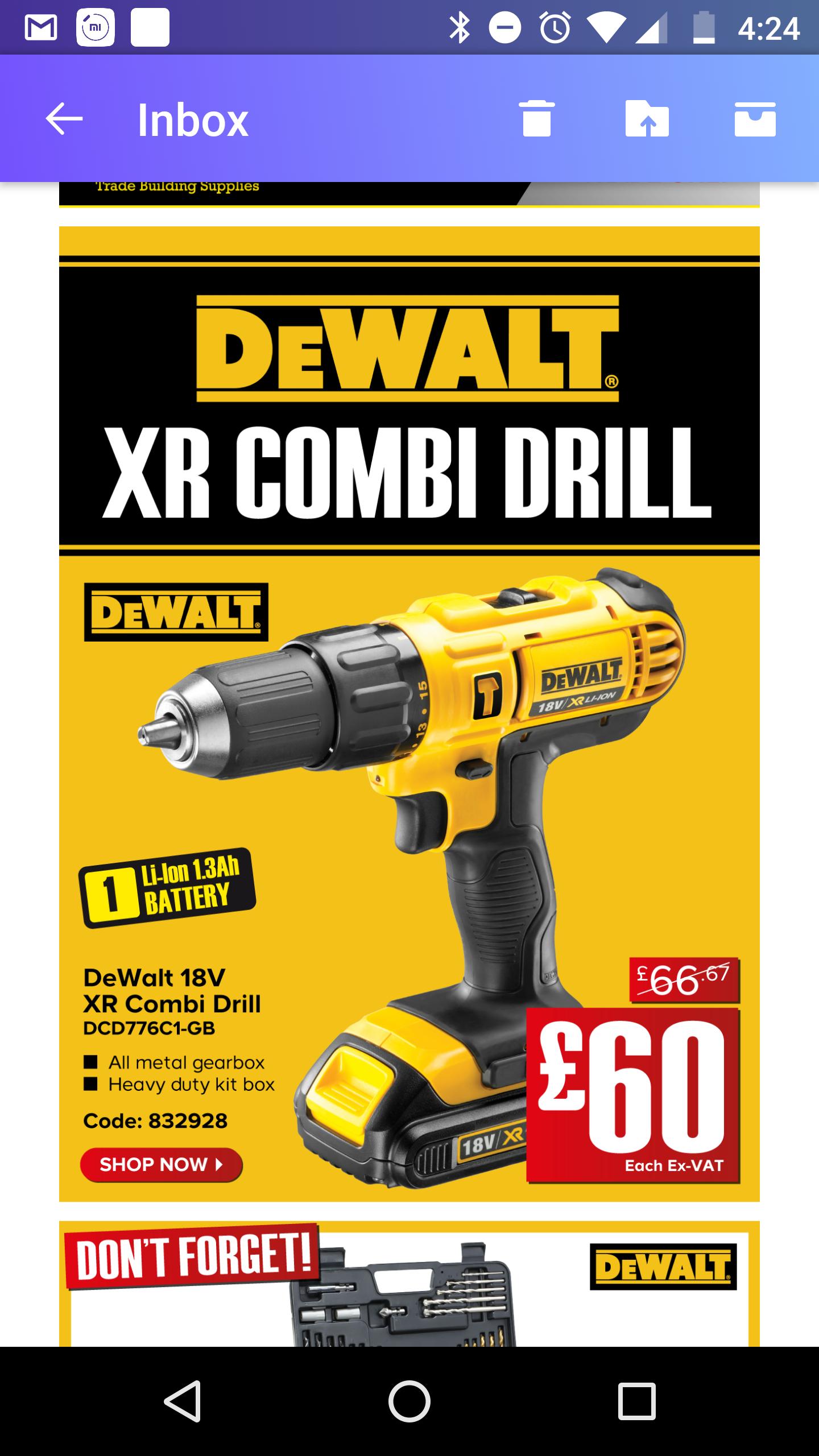 DEWALT XR CORDLESS 18V 10AH LI-ION COMBI DRILL 1 BATTERY DCD776C1-GB £60 plus VAT @ Trade Point