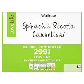 LoveLife Calorie Controlled Spinach & Ricotta Cannelloni 400g, £1.09 @ Waitrose w/MyWaitrose card