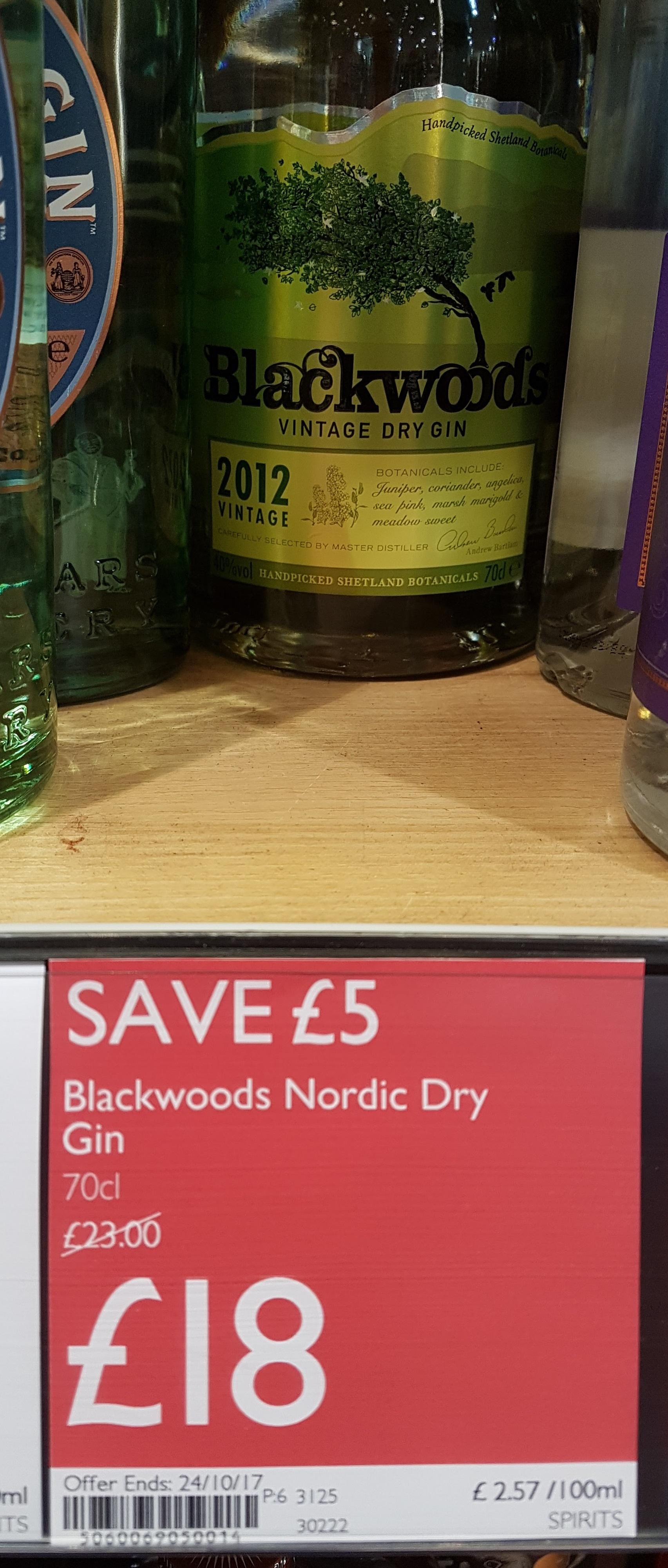 Blackwoods 2012 Vintage Gin (40%) @ Booths Supermarkets for £18
