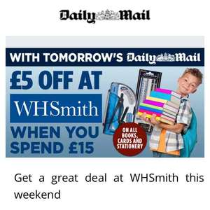 £5 off £15 spend at WHSmith from the Daily Mail Saturday