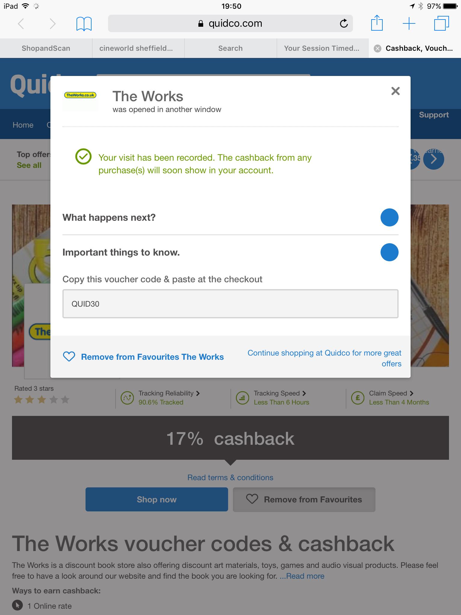 Quidco exclusive 17% cash back on TheWorks online (minimum spend £30)