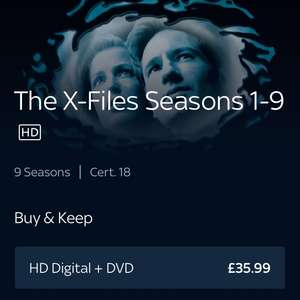 X Files Season 1-9, HD Digital Copy and DVD Box Set - £35.99 @ Sky Store