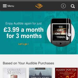 Half price audible for 3 months (£3.99 a month) (plus possible £10 voucher)