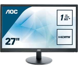 "PCWorld - AOC e2770sh Full HD 27"" LED Monitor 1ms response time + speakers - £139.99 instead of £259.99"
