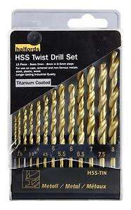 Halfords High Speed Steel HSS Twist Drills 13 Pieces £3 @ Halfords ebay Outlet (Free C+C from Store or £2.99 Home Delivery)