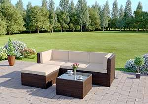 Rattan Wicker Weave Garden Modular Corner Sofa Set Includes Outdoor Protective Cover (5 Piece Brown Milano) £273.98 Dispatched from and sold by ATR Online - Amazon