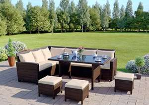 9 Seater Rattan Corner Garden Sofa & Dining Set - Outdoor Protective Cover Included (Brown With Light Cushions) £449.98 Dispatched from and sold by ATR Online - Amazon