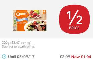 Southern Fried Bites​ (300g) / Quorn Low Fat Sausages (6 = 300g) was £2.09 now £1.04 ​@ Co-op Foods